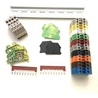 Dinkle Ul Every Color Din Rail Terminal Block Kit 20 Dk2.5n 12 Awg Gauge 20a End