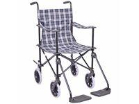 Blue Tartan Lightweight Transit Travel Wheelchair with Carry Bag.