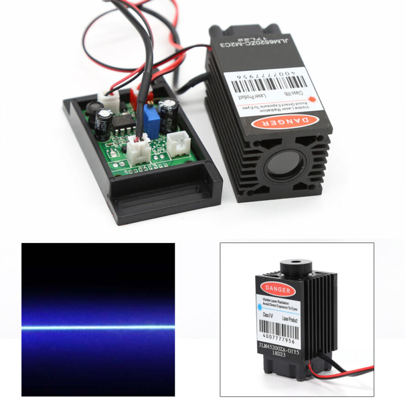 12V Focusable 445-450nm 2000mW 2W Blue Laser Module TTL Cutter Engraving 2W USA