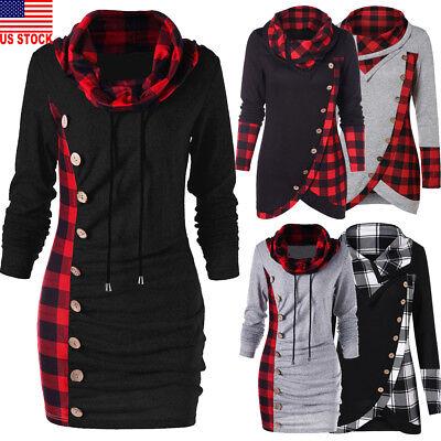 Womens Dressing - Womens Long Sleeve Plaid Jumper Sweater Sweatshirt Dress Loose Casual Xmas Tops