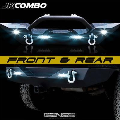 Rock Crawler Front Bumper & Rear Bumper Combo D-Rings LED Backup for Wrangler JK
