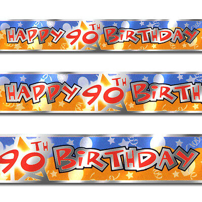 12ft Blue Orange Happy 90th Birthday Party Foil Banner Decoration - 90th Birthday Party