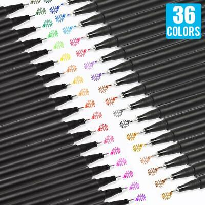 36 Assorted Colors 0.4mm Needle-Point Tip Water-Based Fineliner Pen Set