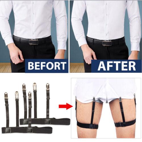 2pcs Shirt Suspenders EXTRA WIDE Men Leg Thigh Elastic Stays Holder Black 1pair
