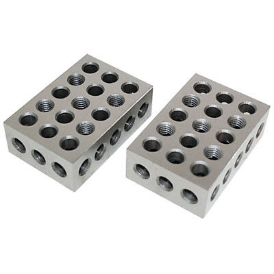 One Pair 1 2 3 Precision Blocks 23 Holes Set Of 2 Pcs