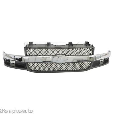New Front GRILLE For Chevrolet Express 3500,1500,2500 CHROME BLACK GM1200535
