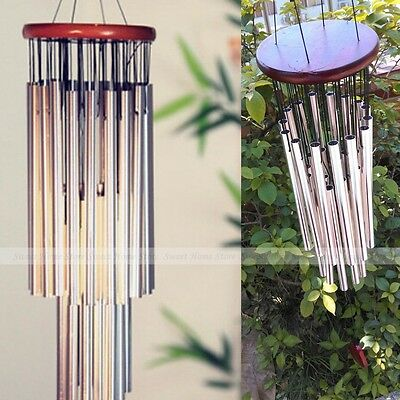 Large 27 Silver Tubes Woodstock Wind Chime ...