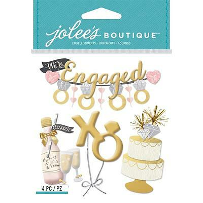 Scrapbooking Crafts Stickers Jolees Dimensional Engagement Banner Rings Cake