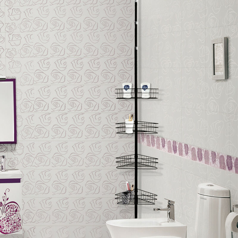 4 Tier Telescopic Pole Bathroom Corner Shower Storage Shelf Rack Organiser Caddy Ebay