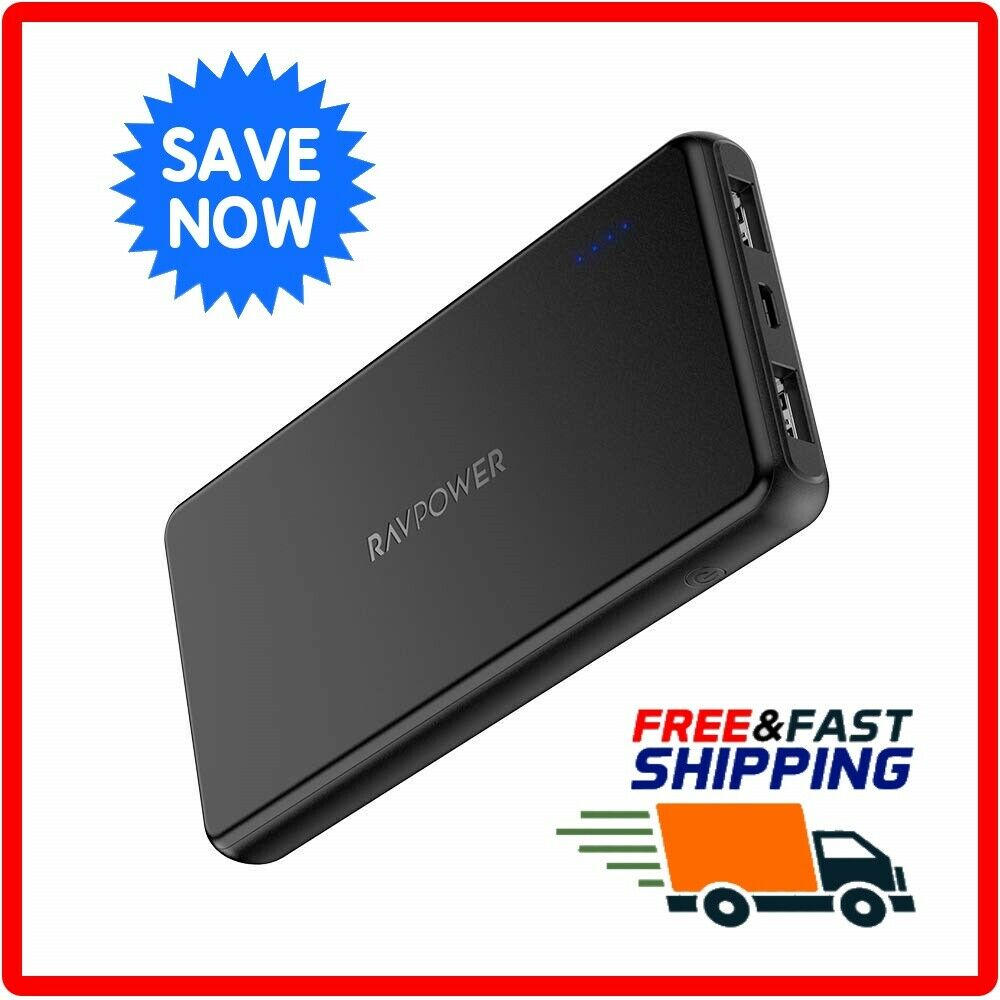 RAVPower 10000mAh Power Bank, Ultra-slim Battery Pack with 2