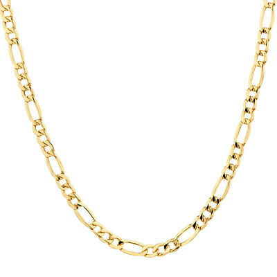 Solid 14K Yellow Gold Italy Figaro Chain Link Pendant Necklace 16