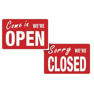 Open And Closed Sign Reversible Bright Red 12 X 8 W X H