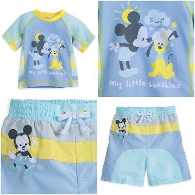 Disney Store Mickey Mouse Baby Boy Swimsuit & Rash Guard Pastel Blue Swim Trunks