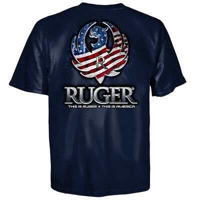 Ruger Reflection American Flag Eagle Logo T Shirt Navy New, Authentic Lg - 3XL