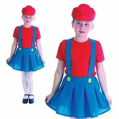Mädchen Mario Klempner Kostüm Kinder 1980s Kostüm Outfit Kinder Buch Tag Neu