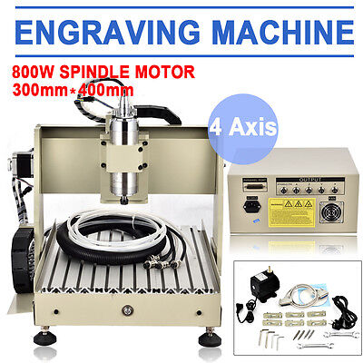 800w 4 Axis 3040 Cnc Router Milling Machine Engraving Engraver Carving Kits