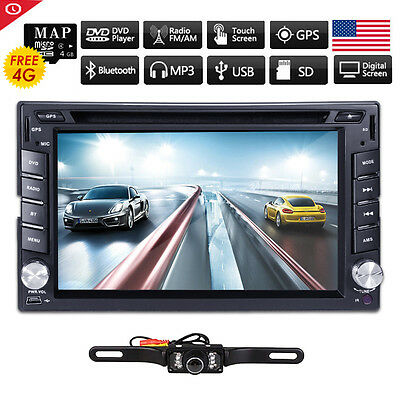 GPS Navigation HD Double 2DIN Car Stereo CD DVD Player Bluetooth iPod MP3 Camera on Rummage