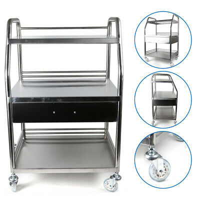 Stainless Steel Hospital Lab Trolley Cart 1 Drawer3 Layers Corrosion Resistant