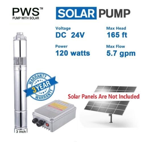 """120W DC24V Solar Water Pump 3/4"""" Stainless Steel Submersible Deep Well Pump"""