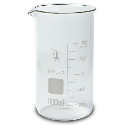 1000ml Beaker Tall Form 3.3 Boro Glass Single Scale Karter Scientific - 6 Pk