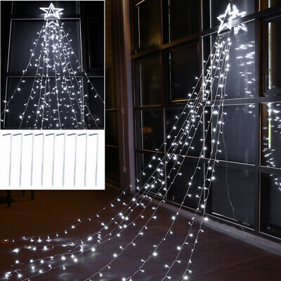 3.6M 110V Star Curtain String Lights Star LED Window Icicle Lights Xmas Wedding