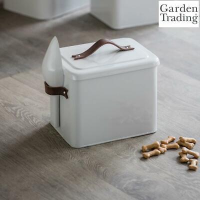 Garden Trading Pet Bin Food Storage, Scoop Leather Handles in Chalk Steel Small