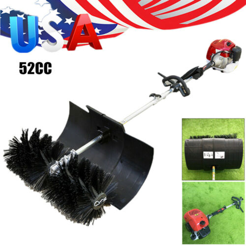 Photo 52cc Gas Power Broom Walk Behind Sweeper Hand Held Cleaning Driveway 600mm Wide