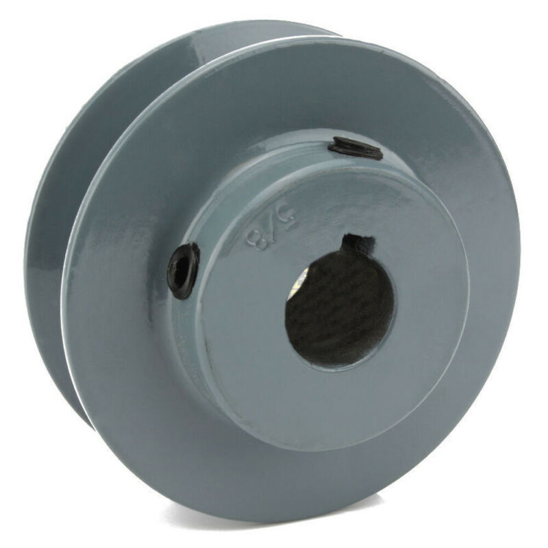 "2.5"" Cast Iron 5/8"" Shaft Pulley Sheave Single 1 Groove V Style A Belt 4L New"