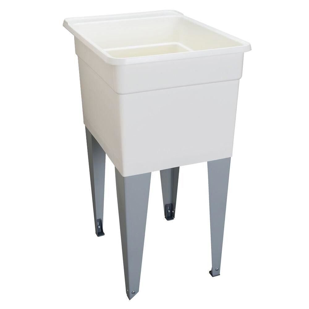 MUSTEE Laundry Tub Utility Sink White Plastic 18 in. x 24 in