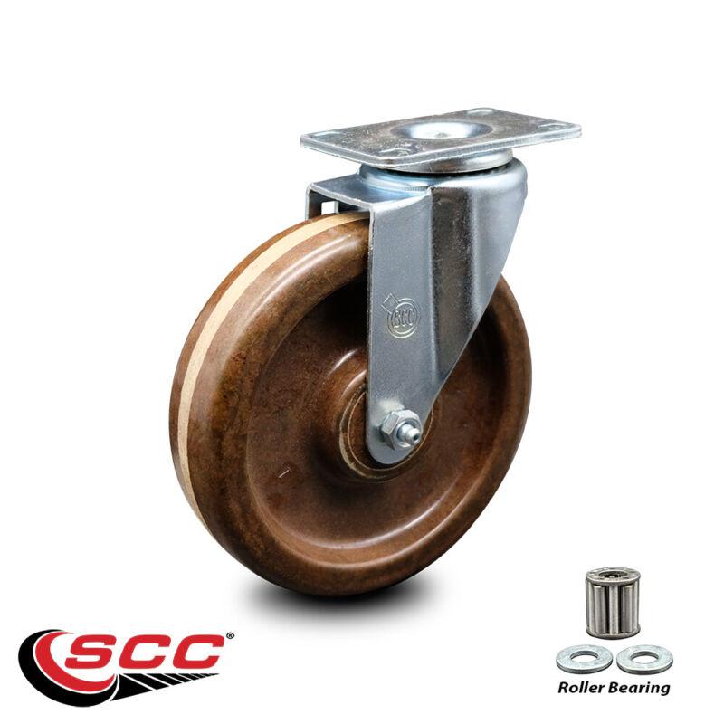 "High Temp Phenolic Swivel Top Plate Caster w/Roller Bearing - 6"" Wheel"