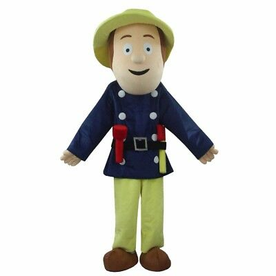 Halloween Fireman Sam Mascot Costume Firefighter Cosplay Party Dress Suit Adults