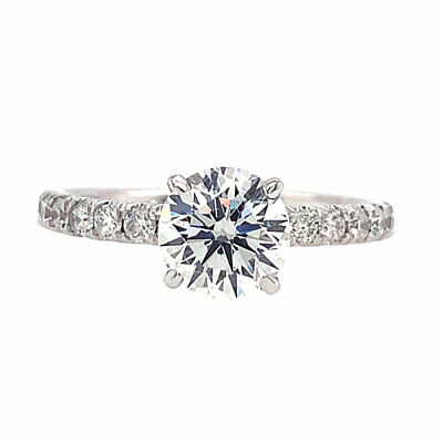 1.68 cttw GIA Certified Round Diamond Micropave Engagement Ring 14K White Gold