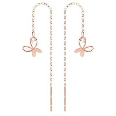 TPD Solid 14K Rose Gold butterfly Long Threader Drop Dangle a Pair of Earrings