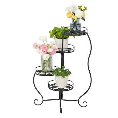 4 Tier Metal Plant Stand Garden Decor Planter Holder Flower Pot Shelf Rack Black Garden Décor