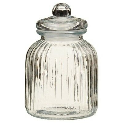 Large Ribbed Glass Candy Jar With Rubber Grip Lid Great for the Modern Kitchen. (The Candy Jar)