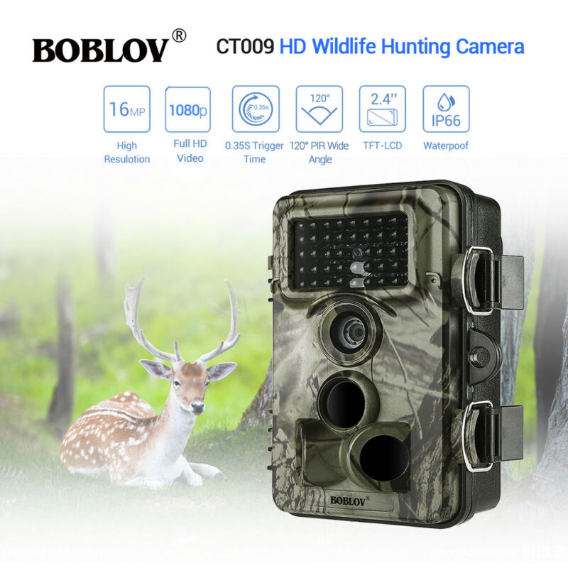 CT009 16MP 1920x1080p Trail Game Camera Hunting 8MP CMOS 0.35s Trigger Time 2.4