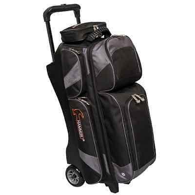 Hammer 3 Ball Deluxe Roller Bowling Bag with Urethane Wheels Black/Carbon