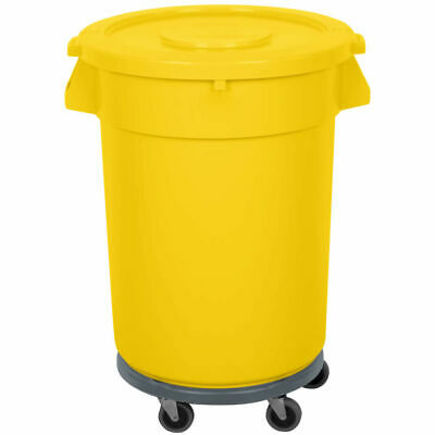 32 Gallon Trash Can Ingredient Bin Lid Dolly Commercial Kit Recycling Nsf Yellow
