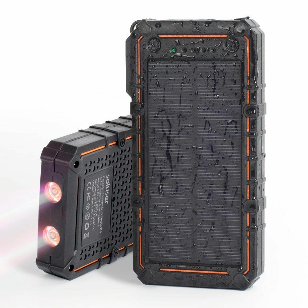 Waterproof 200000mAh Solar Power Bank Portable Battery Charger LED Lighting Cell Phone Accessories
