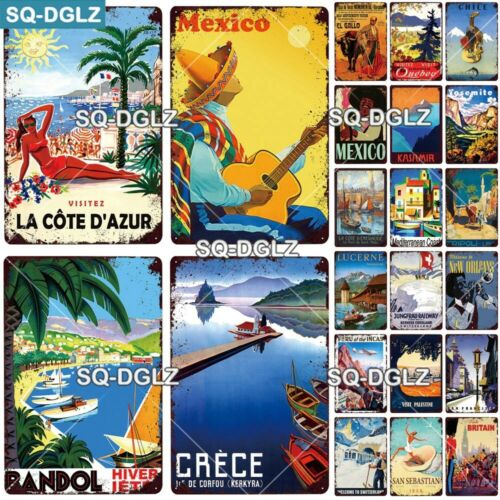 Metal Poster Wall Decoration Tin Sign Retro Vintage Style Travel Collectable