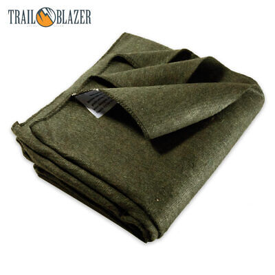 4LB 64X84 GREEN WOOL BLANKET MILITARY WILDERNESS EMERGENCY S