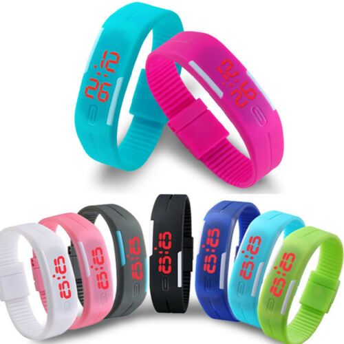 LED Watch Sports Silicone Rubber Digital Unisex Women Men Boys Girls Wrist watch