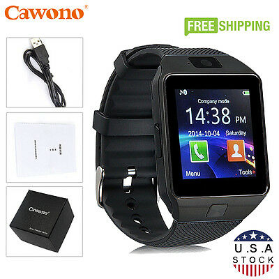 Pitch-black DZ09 Bluetooth Smart Watch Phone + Camera SIM Notch For Android IOS Phones