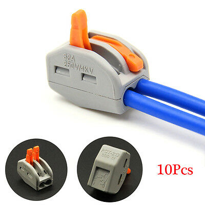 10pcs 2 Pin Universal Compact Wire Wiring Connector Conductor Terminal Block New