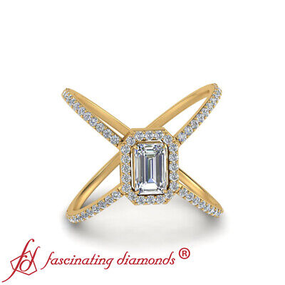 Halo Style 3/4 Carat Emerald Cut Diamond Split Shank Wedding Ring In Yellow Gold