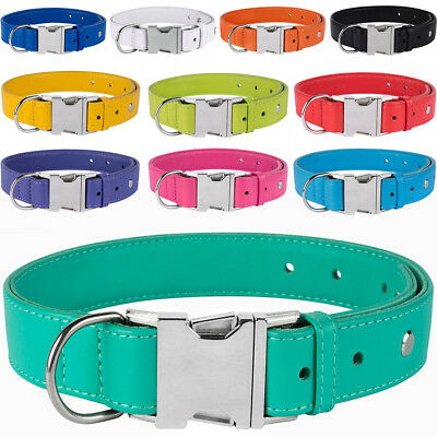 Dog Collar Leather Metal Side Release Buckle Collars for Dog