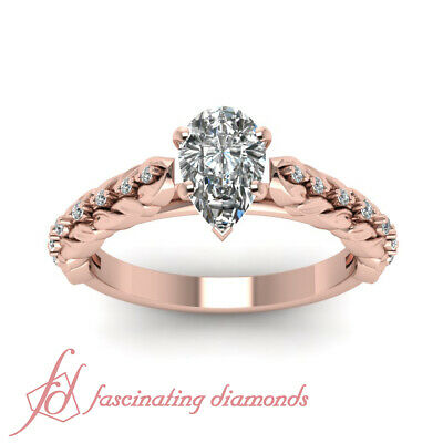 .85 Ct Pear Shaped Diamond Cathedral Style Floral Engagement Rings For Women GIA 1