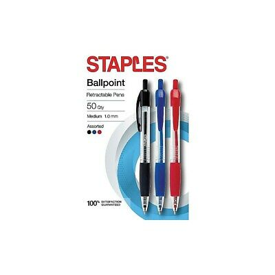 Staples Ballpoint Retractable Grip Pens Medium 1.0mm Assorted 50pk 2345307