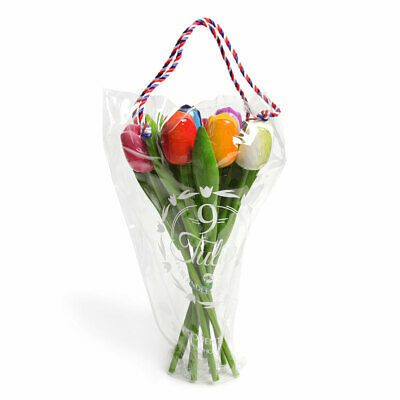 Holztulpen Tulpen 34 cm Geschenk 9er Strauß Wood Tulip versch. Farben Geburtstag