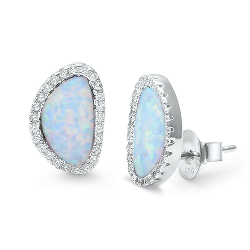 Lab Created White Opal & Cz .925 Sterling Silver Earrings